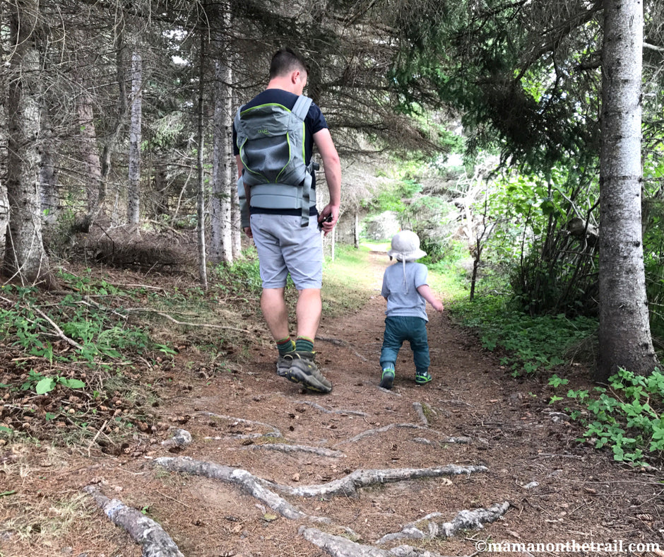 Father walking with child on trail