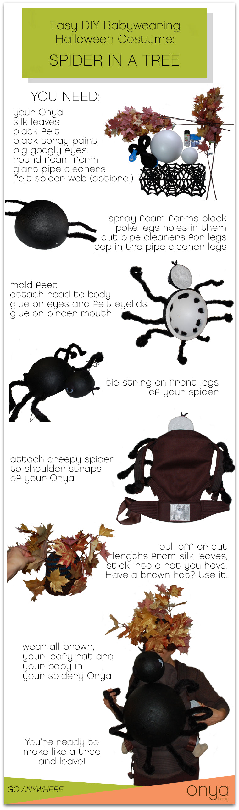 Easy DIY babywearing spider in a tree costume
