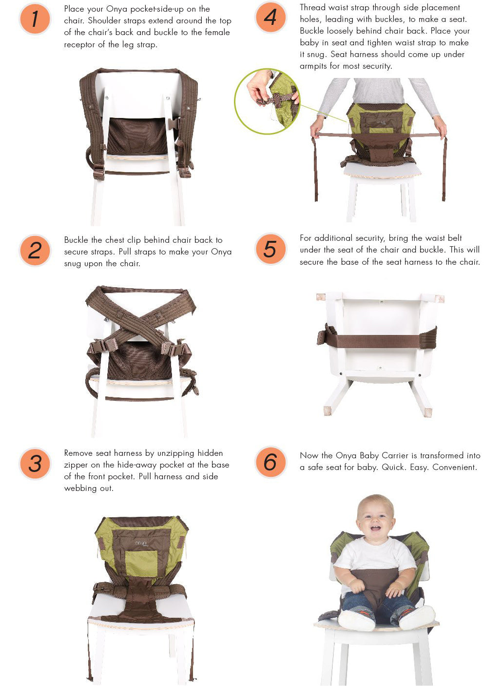 Onya Baby Integrated Carrier to Chair Walkthrough