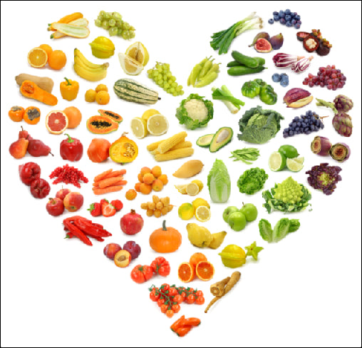 Heart shape made up of healthy fruits and vegetables