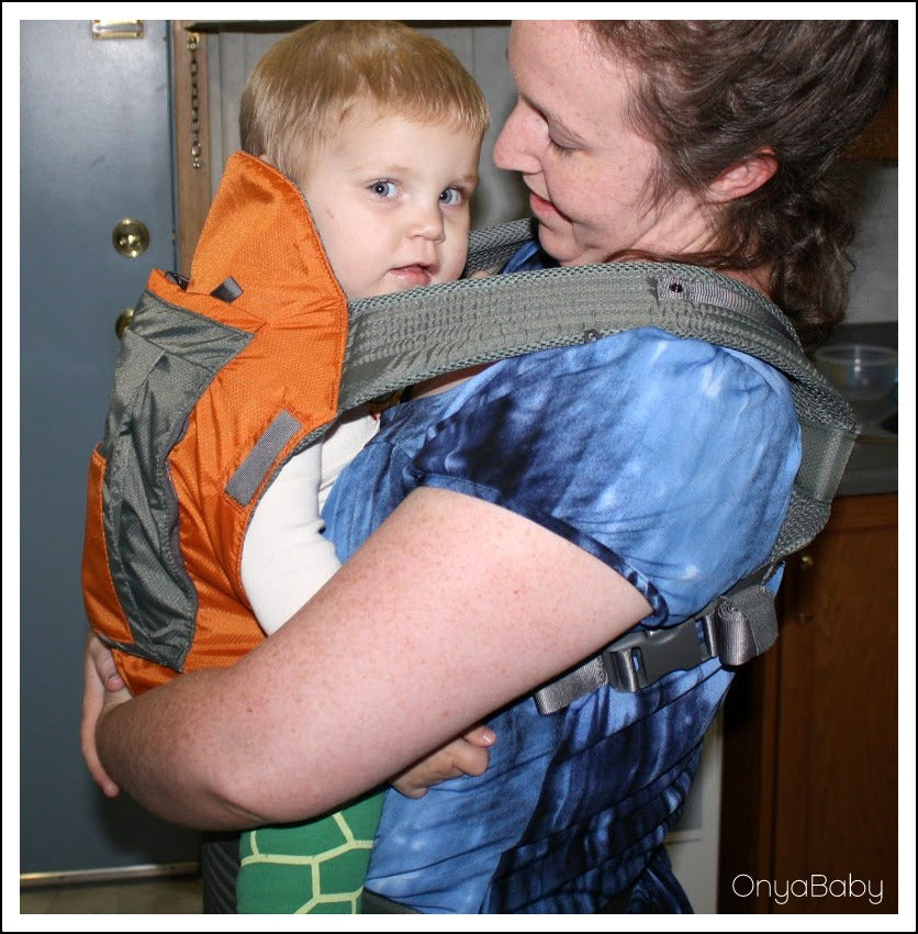 Mother and child happy with their Onya Baby Outback Carrier