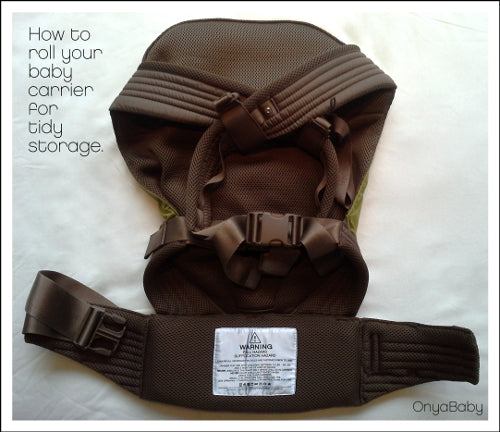 How to roll your Onya Baby carrier for tidy storage - Step 1