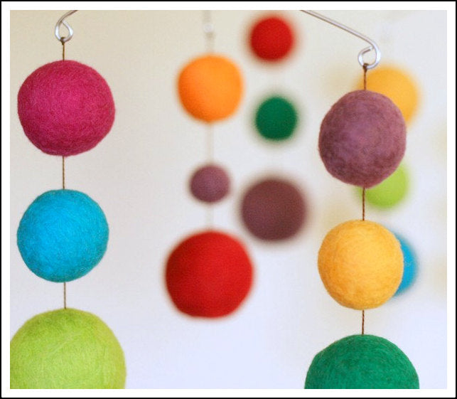 Colorful balls made of wool hanging