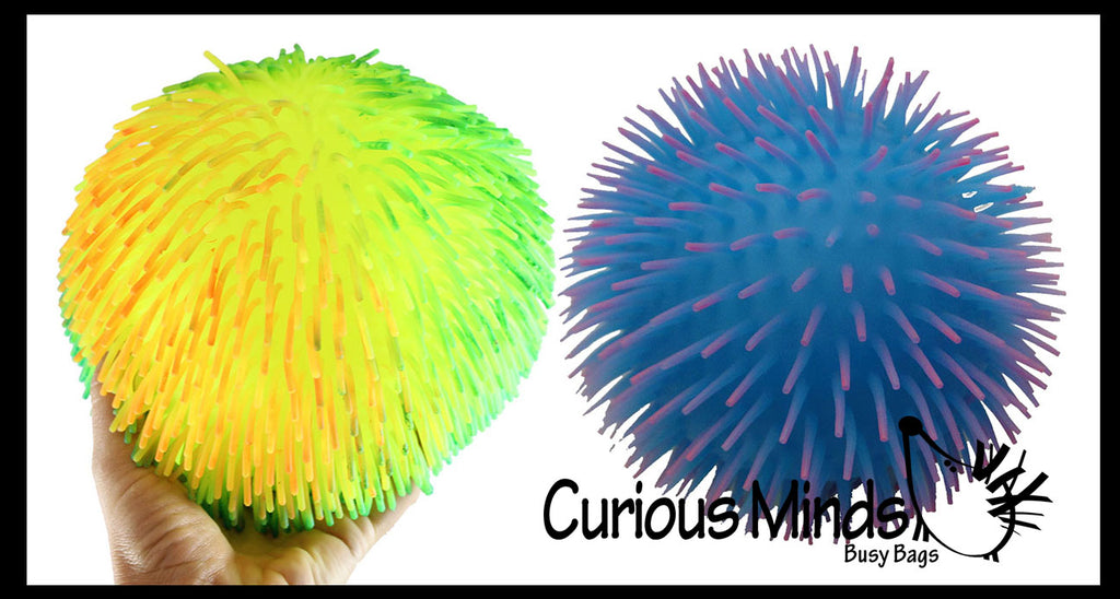 "Set of 2 Jumbo 8"" Puffer Balls - Multi-Color Tie Dye Swirl - Sensory Therapy Fidget Stress Balls - OT Autism SPD"