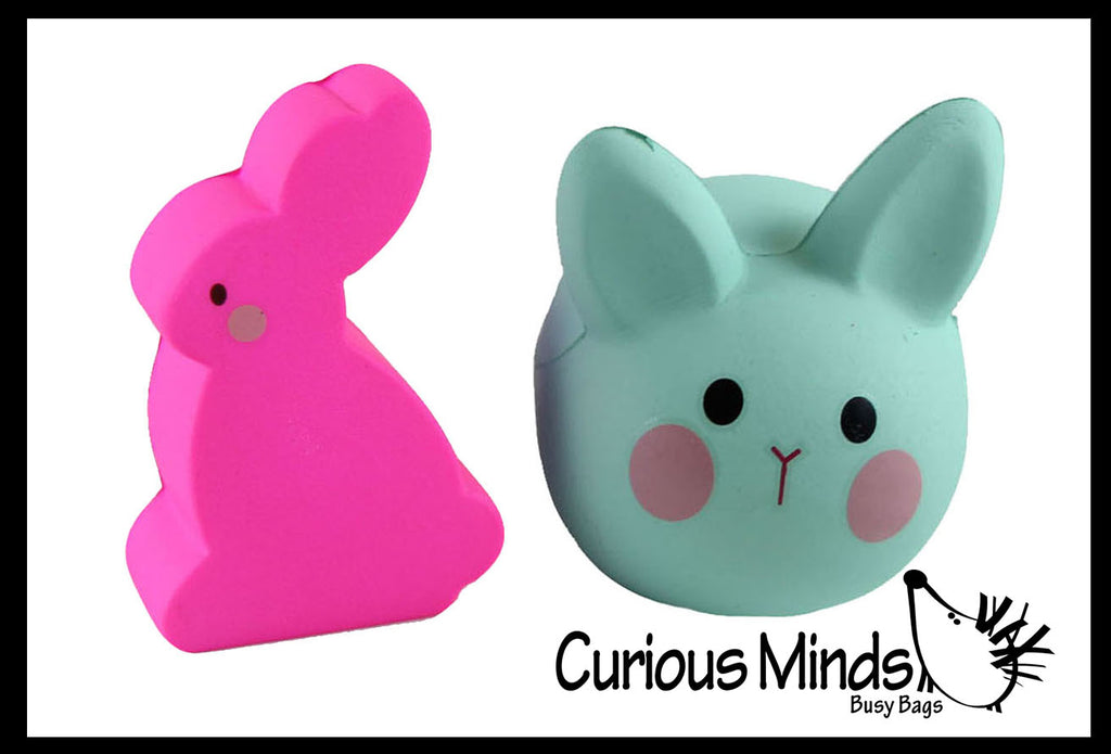 Squishy Bunny Set of 2 - Easter Rabbit Squishy Slow Rise -  Scented Sensory, Stress, Fidget Toy - Easter