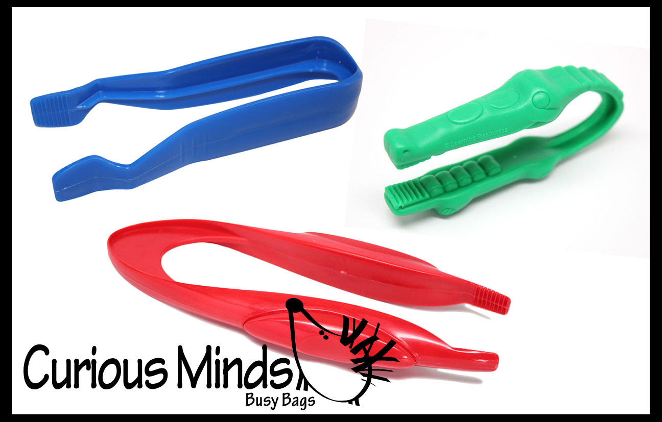 3 CHUNKY Safety Plastic Tweezers for Children - Fine Motor Tools, Occupational Therapy, Special Needs, Sensory Bin, Preschool Tools