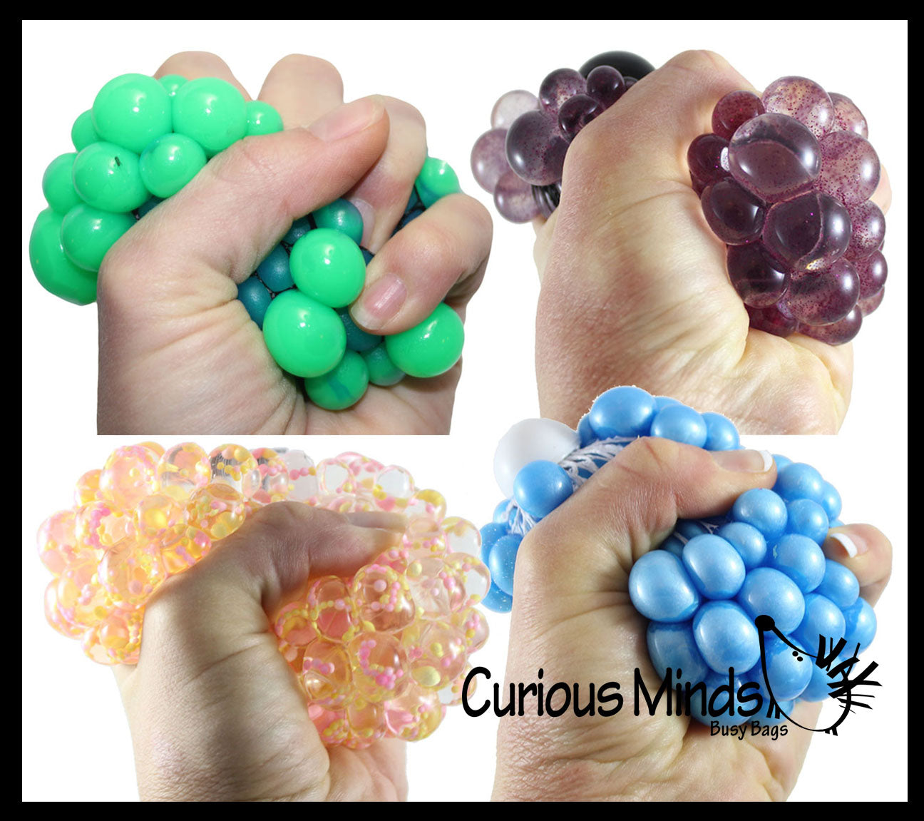 Set of 4 Different Bubble Mesh Balls - Pearl Iridescent/ Metallic / Solid / Confetti Squishy Fidget Ball with Web Netting - Stress Ball Color Changing Blobs - Sensory, Fidget Toy- Gooey Squish Bubble Popping OT