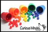 Cute Tiny Colored Cups and Beads - Preschool Color Sorting Cups and Fine Motor Activity - OT Busy Bag