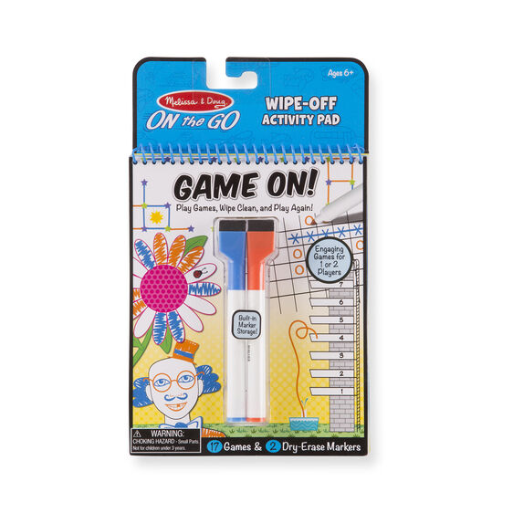 Game On -  Games Wipe-Off Activity Pad - On the Go Travel Activity - Dry Erase Reusable Travel Games - Travel Games - Toddler Kids - Melissa and Doug