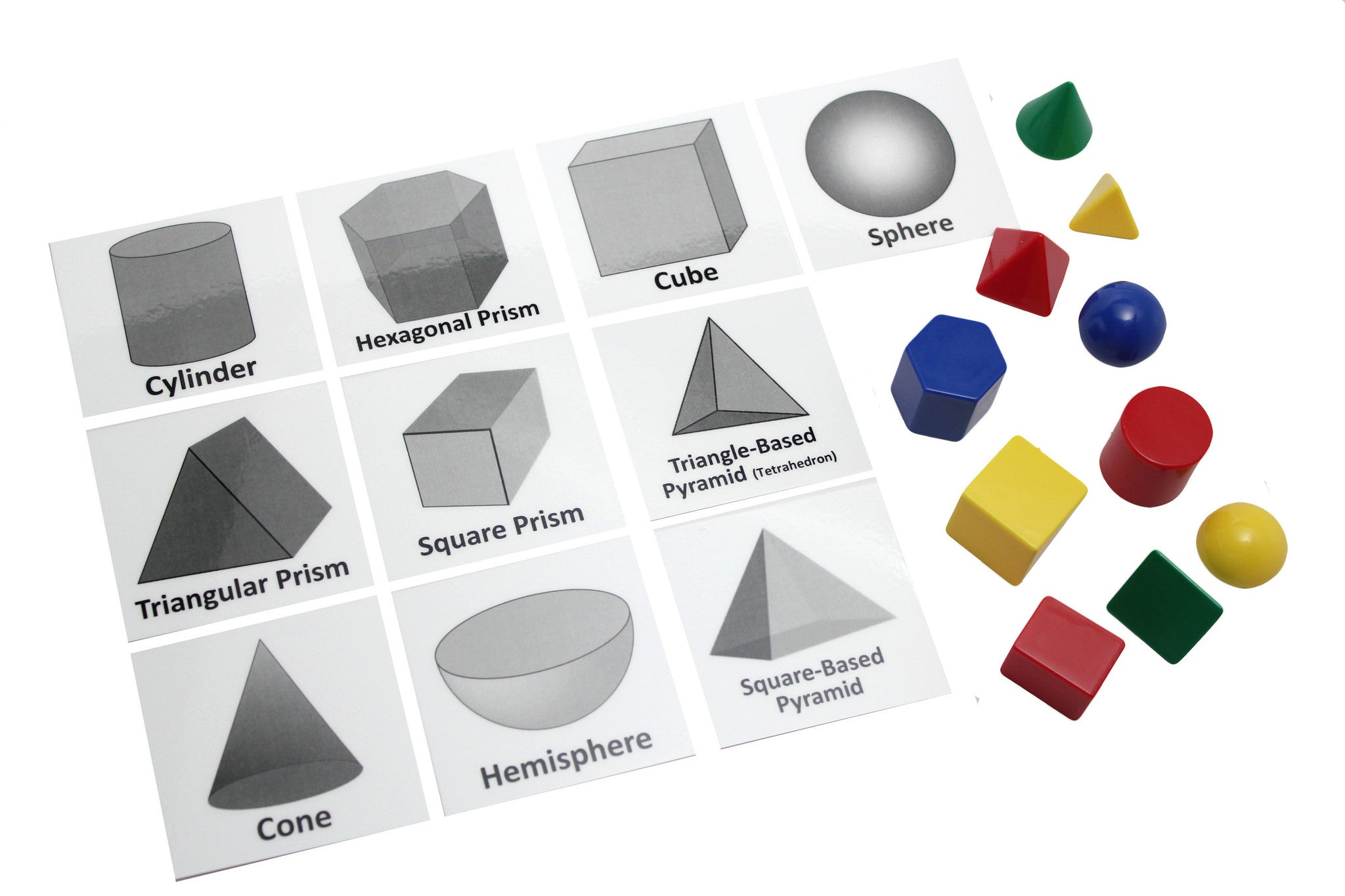 Geometric Solid Shapes Match With Matching Cards
