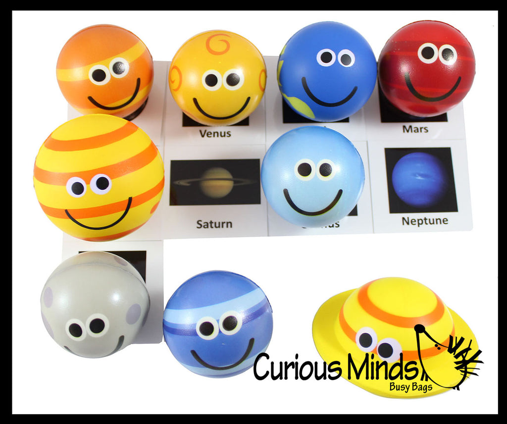 Cute Solar System Match with Cards Stress Ball Toy Set - Educational Learning Toy - Outer Space Planets