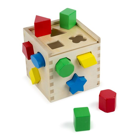 Wooden Shape Sorting Cube - Classic Toddler Toy - Wood Shape Match Skill Toy