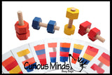 Wood Nuts and Bolts Toy with Pattern Cards - Montessori Wood Toy
