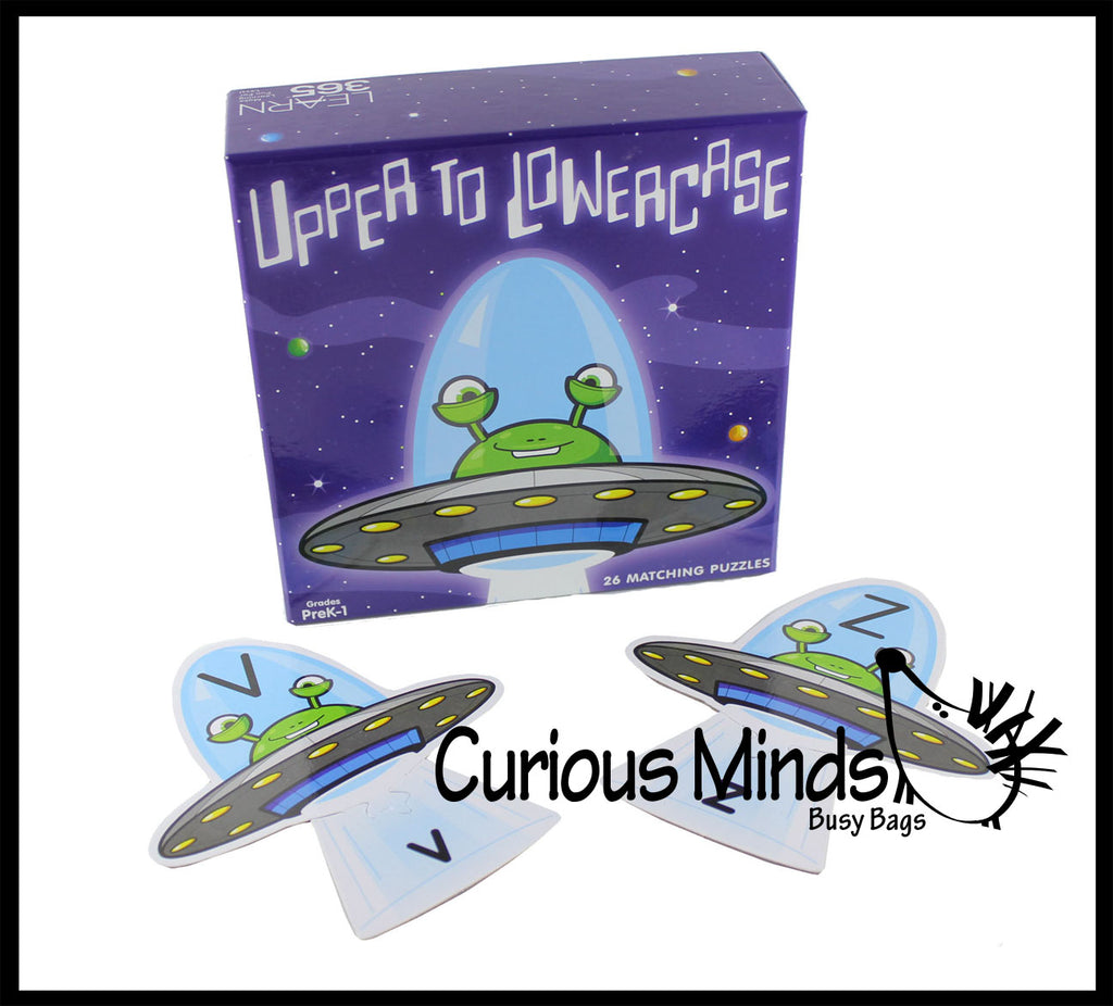 Uppercase to Lowercase Alphabet Matching Puzzle - Cute Outer Space Alien Themed Language Arts Teacher Supply