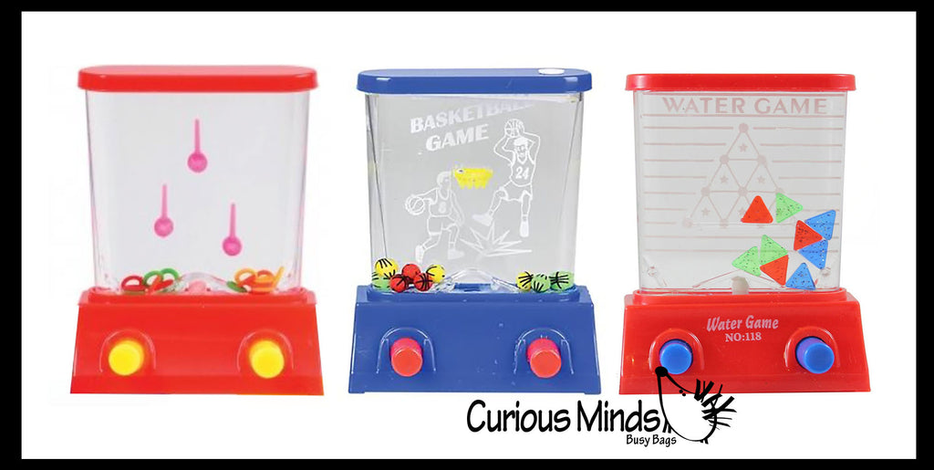 3 Different Styles Small Water Games - Push Button to Push Water and Play - Hand Held Travel Arcade Game - Party Favors