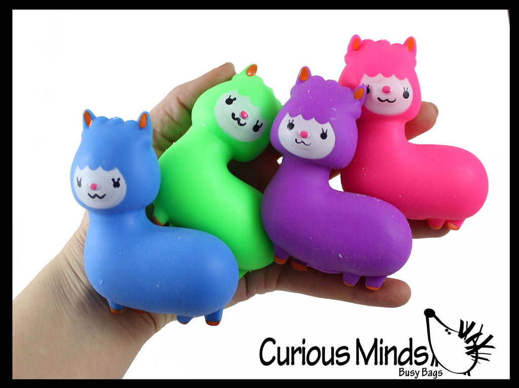 Cute Alpaca Llama Doh Stress Stretch Ball - Moldable Pinch Poke Sensory Fidget Toy Doughy