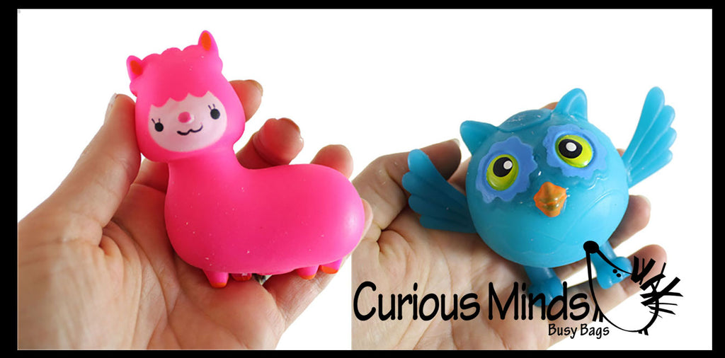 Cute Owl & Alpaca Llama Doh Stress Stretch Ball - Moldable Pinch Poke Sensory Fidget Toy Doughy