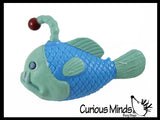 Angler Fish Cute Sea Creatures Stretchy and Squeezy Toy - Crunchy Bead Filled - Fidget Stress Ball - Flashlight Fish