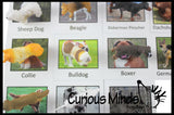 Animal Match - DOG - Miniature Animals with Matching Cards - 2 Part Cards.  Montessori learning toy, language materials - Puppy Pet Doggy