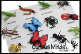 Montessori Animal Match - Miniature Animals with Matching Cards - 2 Part Cards.  Montessori learning toy, language materials - Insects & Bugs