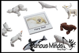 Animal Match - ARCTIC - Miniature Animals with Matching Cards - 2 Part Cards.  Montessori learning toy, language materials - Arctic Animals