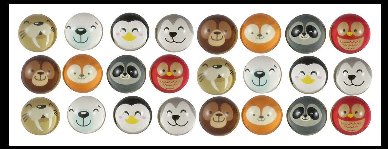24 Cute Animal Themed Bouncy Balls - Arctic Animal Winter / Woodland Critters - Cold Snow Christmas Bouncing Ball Party Favor Novelty Toy