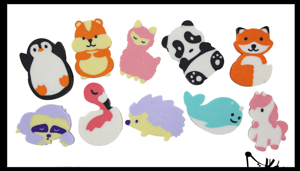 Animal Mix Adorable Erasers - Novelty and Functional Adorable Eraser Novelty Treasure Prize, School Classroom Supply, Math Counters - Sorting - Party Favor
