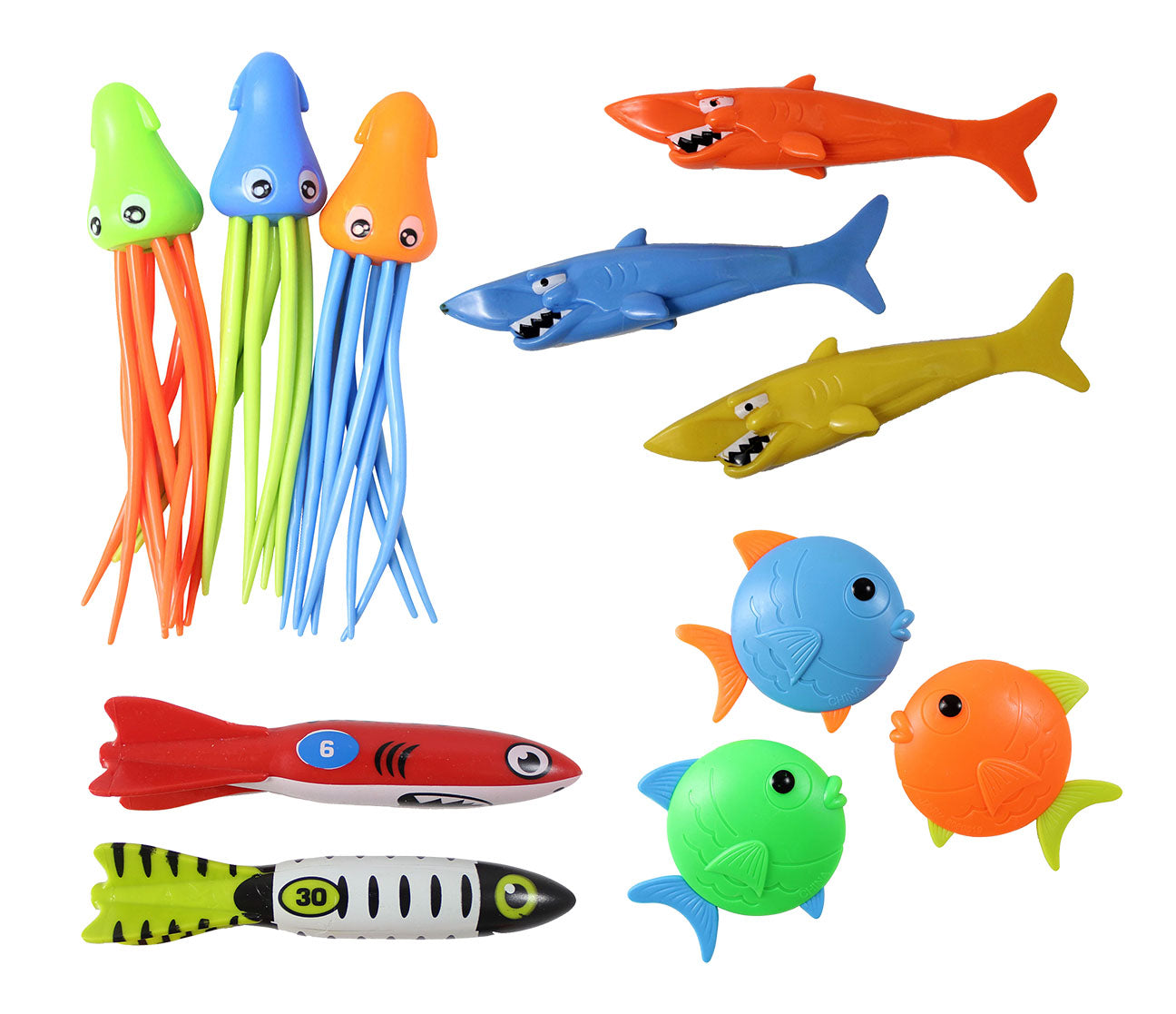 Set of 11 Ocean Creature Bundle of Pool Dive Toys - Pool, Beach and Bath Toy Dives - Sinking and Gliding - Throw Underwater