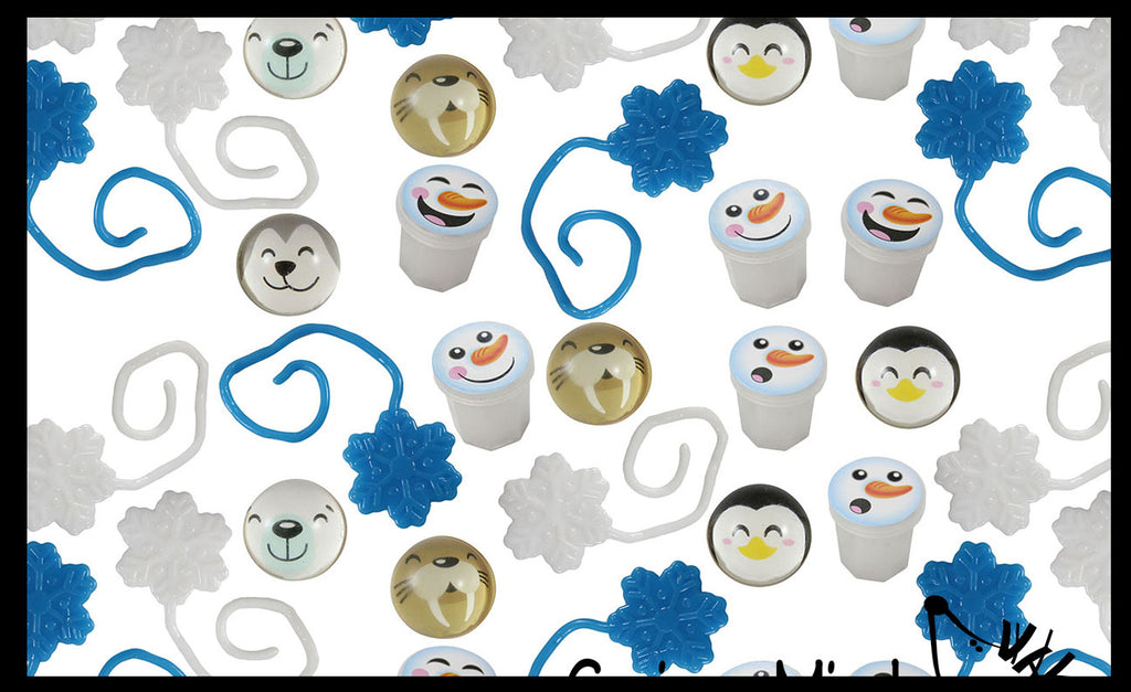 72 Piece Arctic Winter Themed Party Favors Mix - Slime, Sticky Snowflakes, and Bouncy Balls -  White & Blue Snowflake Winter Toys - (6 Dozen)