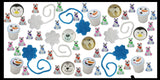 216 Piece Arctic Winter Themed Party Favors Mix - Slime, Sticky Snowflakes, Polar Bear Erasers, and Bouncy Balls -  White & Blue Snowflake Winter Toys - (18 Dozen)