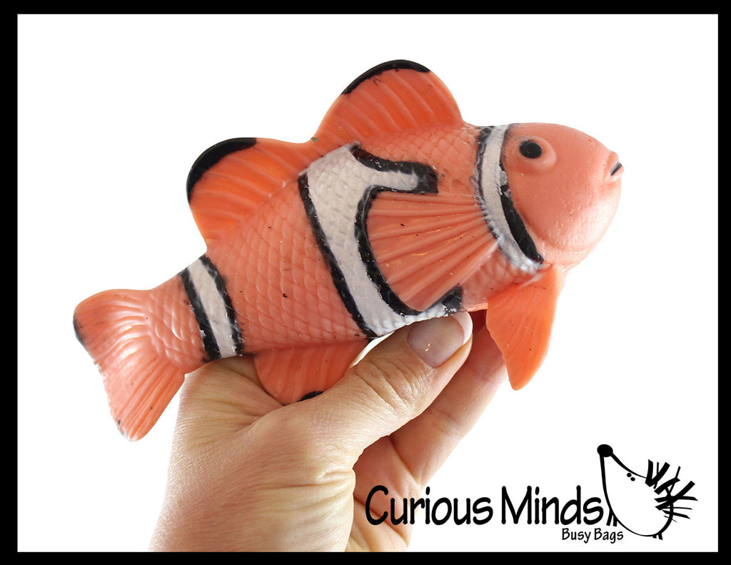 Clownfish Stretchy and Squeezy Toy - Crunchy Bead Filled - Fidget Stress Ball Fish Ocean