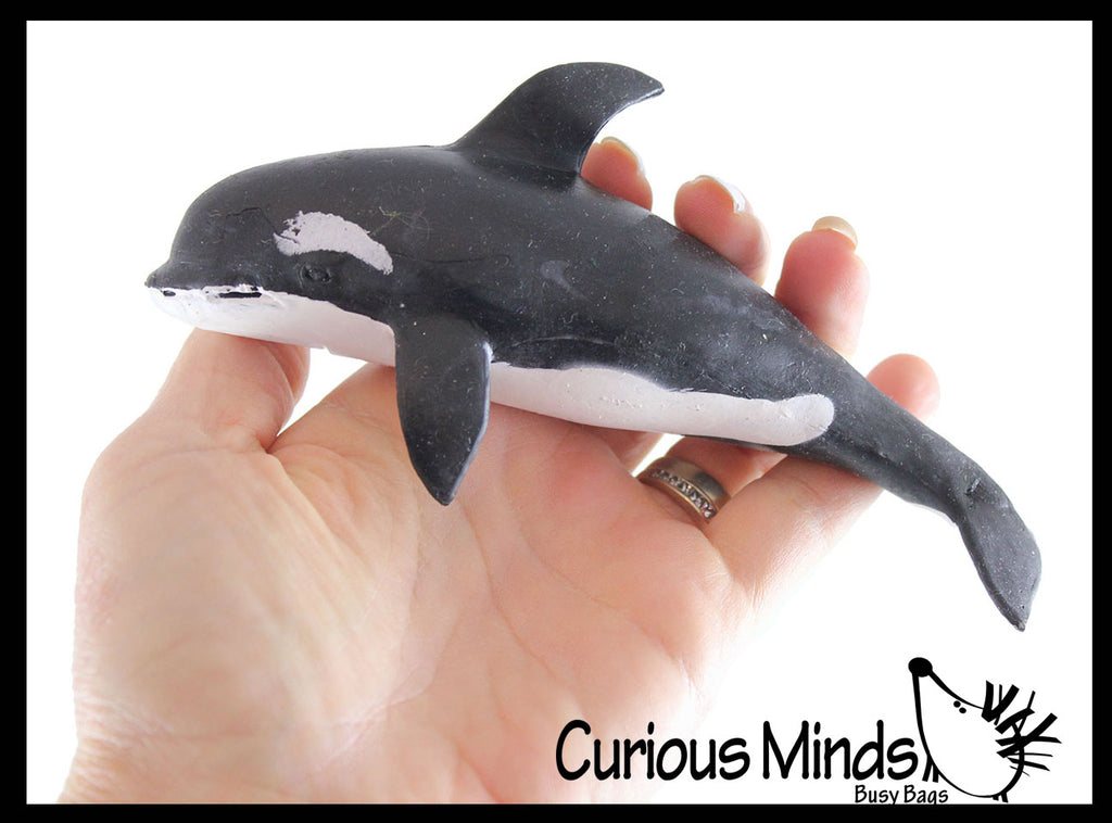 Orca Stretchy and Squeezy Toy - Crunchy Bead Filled - Fidget Stress Ball - Killer Whale Sea Creature