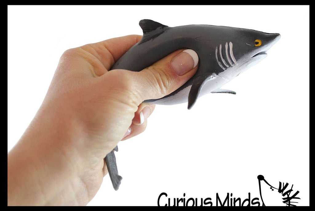Shark Stretchy and Squeezy Toy - Crunchy Bead Filled - Fidget Stress Ball