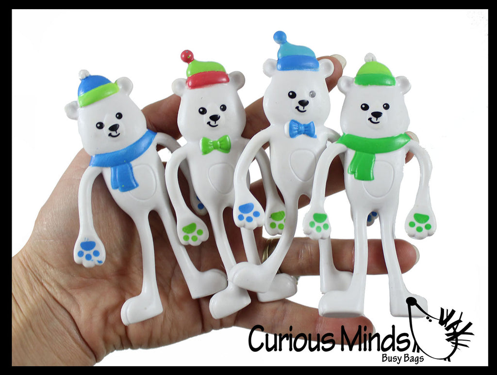 Bendy Polar Bear Bendable and Posable Toys - Fun Party Favor Toy - Christmas Winter