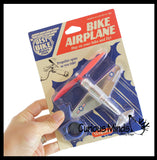 Kids Bike Airplane - Plane Clips to Bike Handlebar & Propeller Spins in Wind - Cute Accessory Decoration for Bicycle