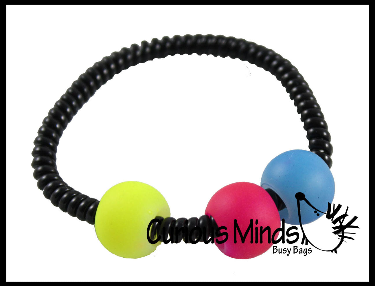 Black Coil Fidget Bracelet with Moving Beads -  Sensory Fidget Toy