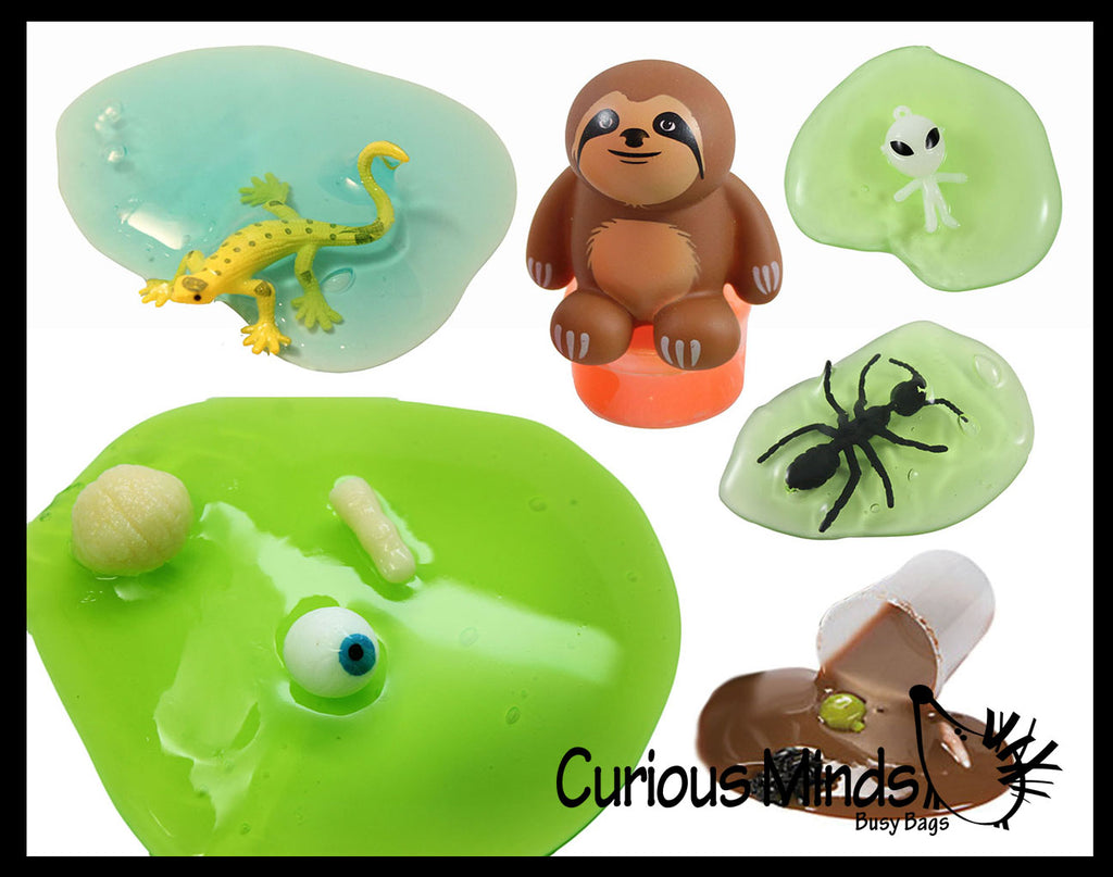 6 Boy Themed Figurines in Slime - Sampler Bundle  Try out 6 different slimes and putties