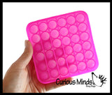 Neon Bubble Pop Game - Silicone Push Poke Bubble Wrap Fidget Toy - Circle, Square, Star, Flower, Octagon, Flower - Press Bubbles to Pop the Bubbles Down Then Flip it over and Do it Again - Bubble Popper Sensory Stress Toy