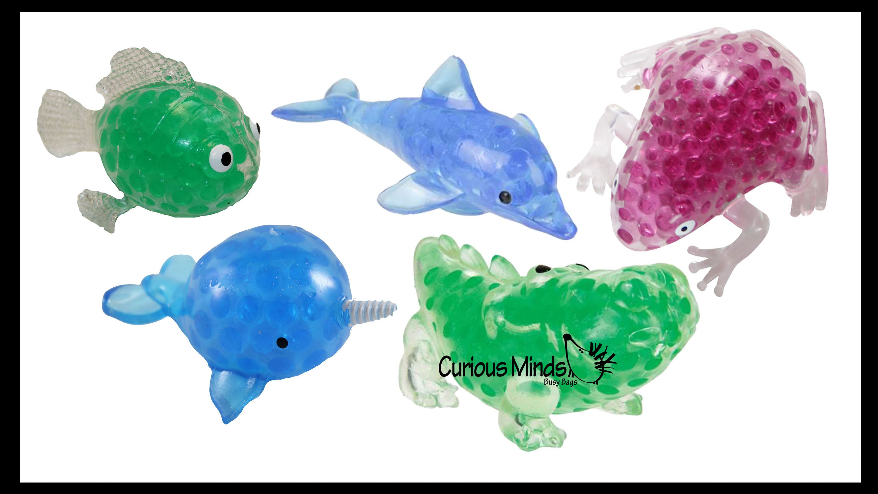 Animal Water Bead Filled Squeeze Stress Ball Variety Pack  of 5 -  Sensory, Stress, Fidget Toy - Sticky Target Ceiling Balls