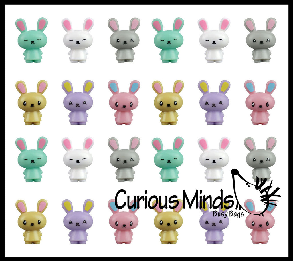 24 Cute Bunny Rabbit Figurines - Mini Toys - Easter Egg Filler - Small Novelty Prize Toy - Party Favors - Gift - Bulk 2 Dozen