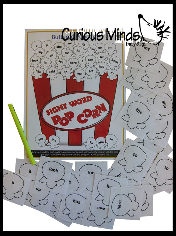 PDF File - Buttered Popcorn Sight Word Game