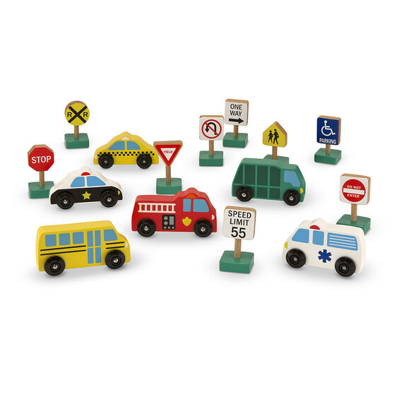 Wooden Cars and Traffic Signs - Creative Toy Vehicle Set - Classic Toddler Wood Toy