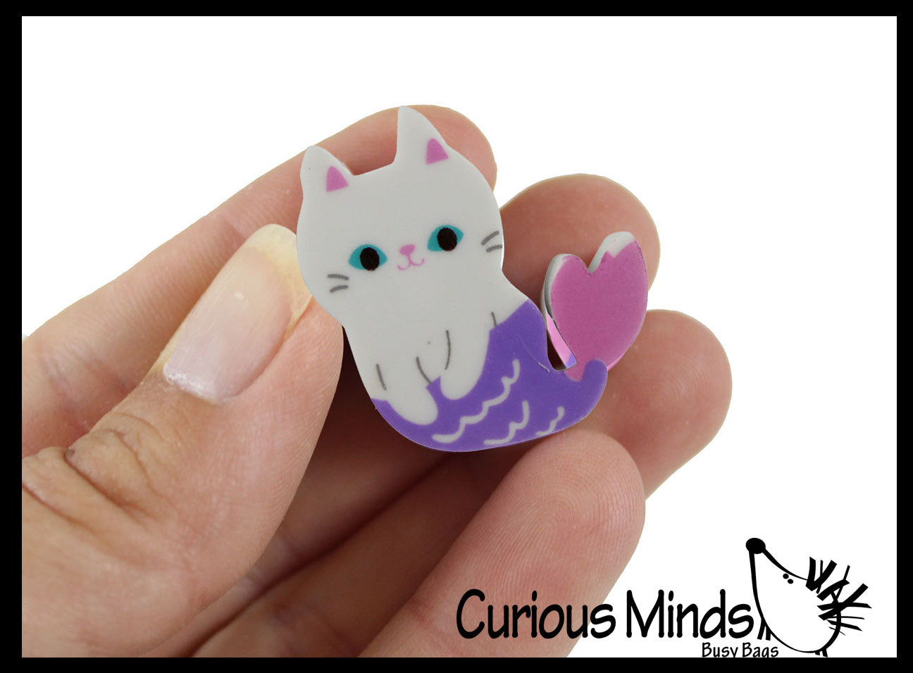 Mermaid Cat - Mercat Kitty Adorable Erasers - Novelty and Functional Adorable Eraser Novelty Treasure Prize, School Classroom Supply, Math Counters - Sorting - Party Favor