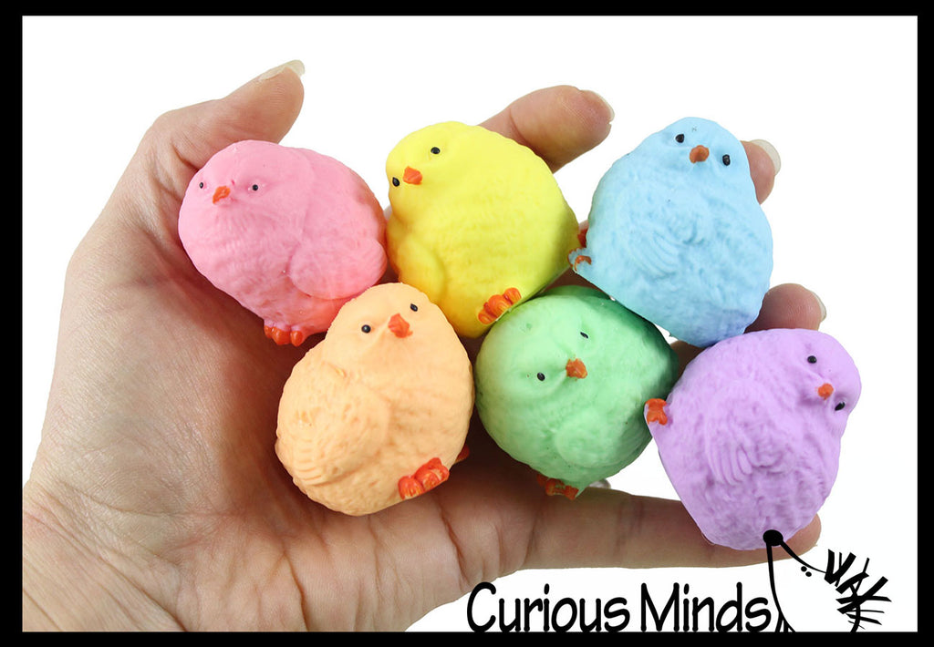 Small Chick Squishy Balls in Capsules -  Easter / Spring Themed Squishy Animals -  Sensory, Stress, Fidget Party Favor Toy - Egg Hunt