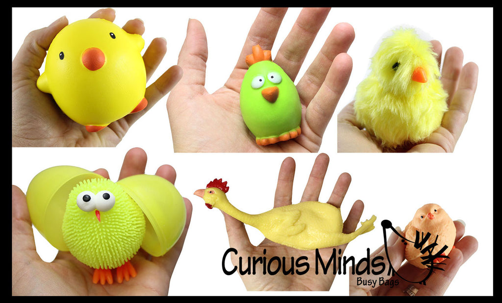 Set of 6 - Chicken Toy Set-  Slow Rise, Puffer, Stress Ball, Stretchy Chick,  Sensory, Stress, Fidget Toy - Easter