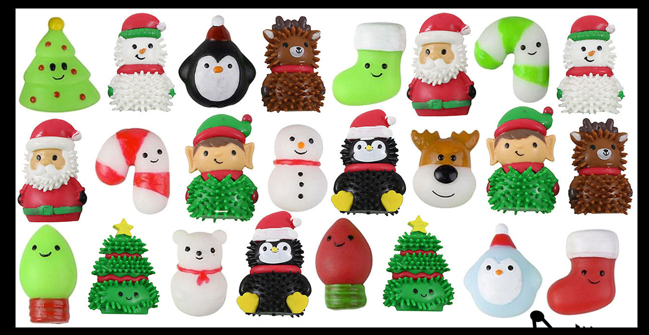 24 Cute Christmas Characters - Mochi and Themed Wooly Hedge Porcupine Spiky - Fun Party Favor Toy - Christmas Winter