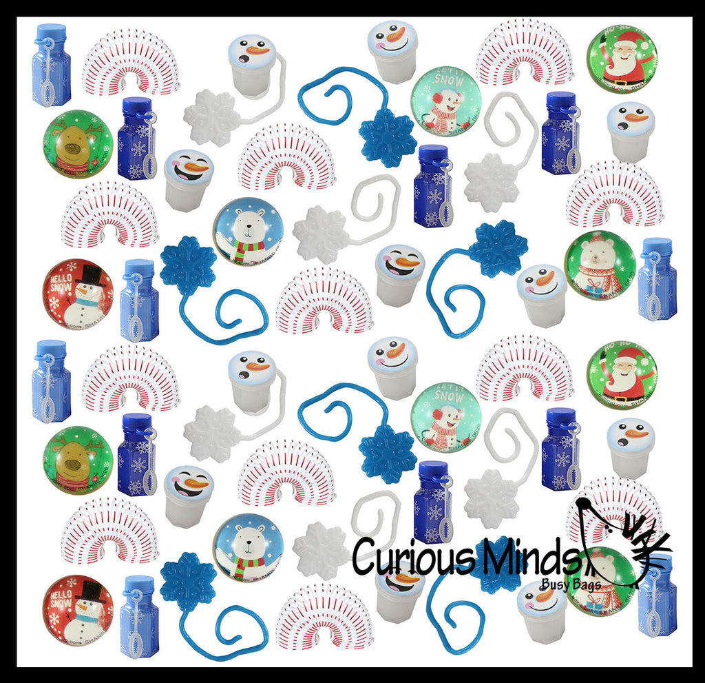 Set of 60 Christmas Winter Themed Party Favors Mix - Slime, Bubbles, Sticky Snowflakes, Spring Toys, and Bouncy Balls -  White & Blue Snowflake Winter Toys - (5 Dozen)