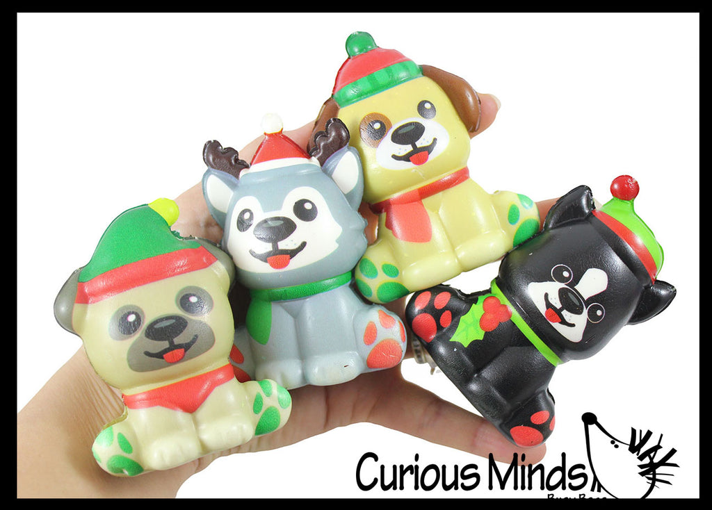 Christmas Dogs Slow Rise Squishy Toy  - Memory Foam Squish Stress Ball - Winter Christmas
