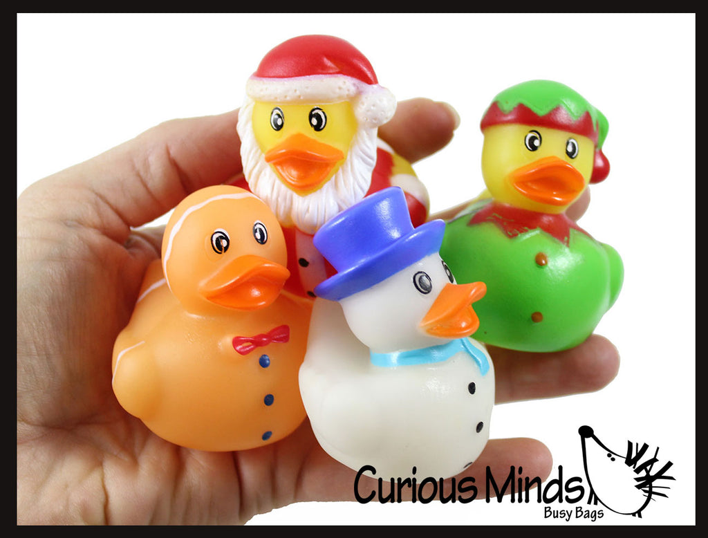 Christmas Rubber Duckies - Santa, Gingerbread Man, Snowman, and Elf Ducks - Cute Holiday Party Favor Decoration Gifts