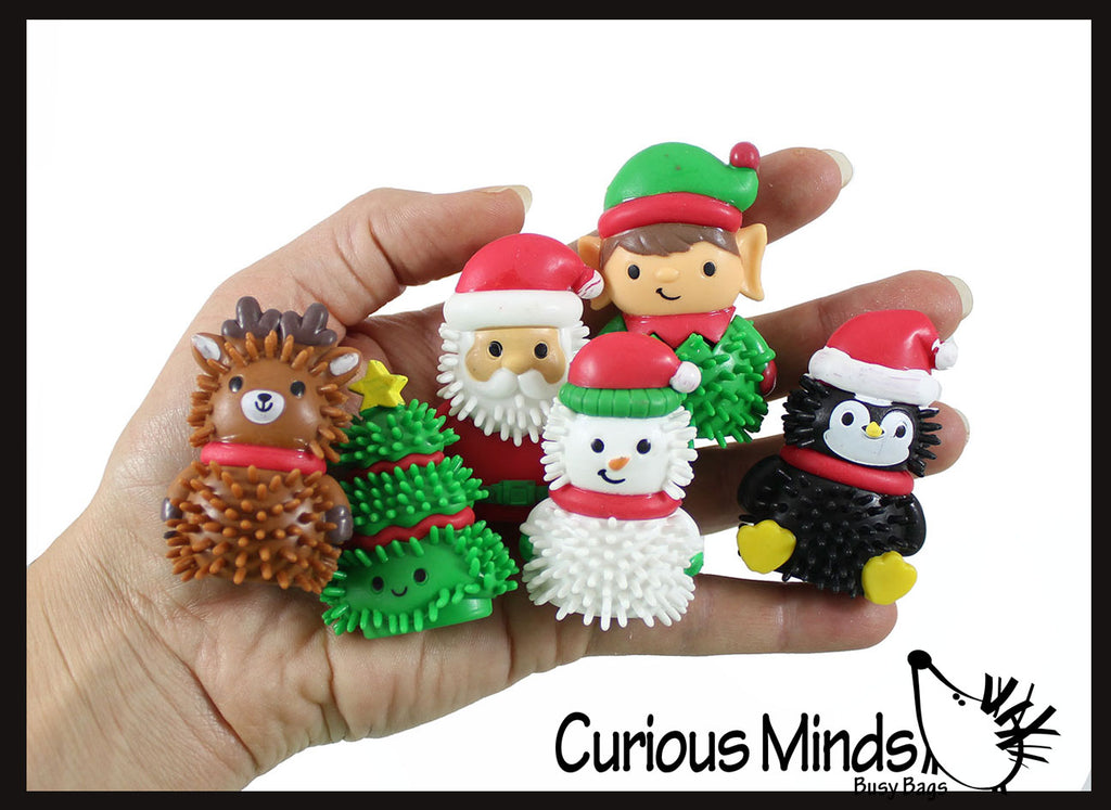 Cute Christmas Themed Wooly Hedge Characters Porcupine Spiky - Fun Party Favor Toy - Christmas Winter